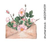 watercolor envelope with wild... | Shutterstock . vector #682093459