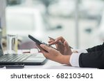 a business woman analyzing... | Shutterstock . vector #682103401