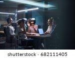 multiethnic business team using ... | Shutterstock . vector #682111405