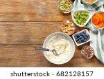 tasty breakfast with yogurt on...   Shutterstock . vector #682128157