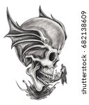 Art Surreal Skull Tattoo.hand...