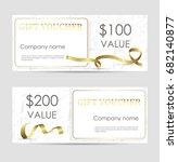 set of luxury gift vouchers... | Shutterstock .eps vector #682140877
