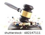 judge gavel beats on tablets...   Shutterstock . vector #682147111