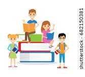 a group of children with books | Shutterstock .eps vector #682150381