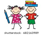 kids and books and crayon ... | Shutterstock .eps vector #682163989