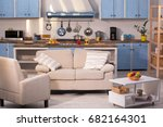 close up view on kitchen studio.... | Shutterstock . vector #682164301
