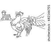 cartoon rooster coloring page...   Shutterstock .eps vector #682166701