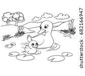 cartoon duck lake coloring... | Shutterstock .eps vector #682166947