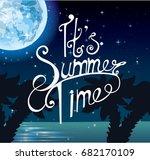 summer night on the beach  ... | Shutterstock .eps vector #682170109