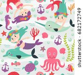 seamless pattern with mermaid... | Shutterstock .eps vector #682172749