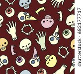 background with scull bones and ... | Shutterstock .eps vector #682177717