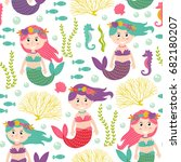 seamless pattern with mermaid... | Shutterstock .eps vector #682180207