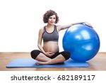 young pregnant woman exercises... | Shutterstock . vector #682189117