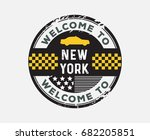welcome to new york taxi yellow ... | Shutterstock .eps vector #682205851