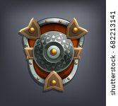 iron fantasy shield for game or ... | Shutterstock .eps vector #682213141