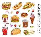 vector set of fast food hand... | Shutterstock .eps vector #682215829