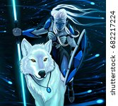 Elf With White Wolf. Vector...