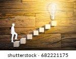 closeup of paper businessman... | Shutterstock . vector #682221175
