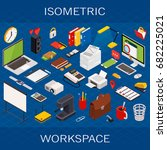 flat 3d isometric computerized... | Shutterstock .eps vector #682225021
