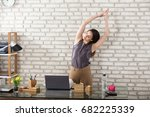 young businesswoman stretching... | Shutterstock . vector #682225339