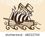 ancient ship burning in the sea | Shutterstock .eps vector #68222743