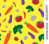 vegetables on yellow background ...   Shutterstock .eps vector #682230997