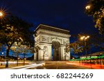 the triumphal arch in evening ... | Shutterstock . vector #682244269