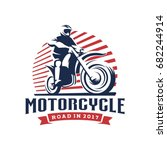 motorcycle illustration logo... | Shutterstock .eps vector #682244914