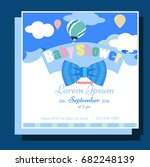 baby shower invitation with bow   Shutterstock .eps vector #682248139