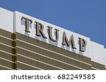 Small photo of Las Vegas - Circa July 2017: Trump Hotel Las Vegas. Named for real estate developer Donald Trump, the exterior windows are gilded with 24-karat gold V
