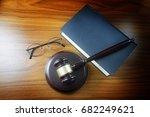 judge gavel with sound board ... | Shutterstock . vector #682249621