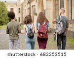 student friends going together... | Shutterstock . vector #682253515