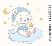 cute dreaming baby bear cartoon ... | Shutterstock .eps vector #682257799