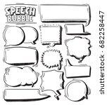 hand drawing speech bubbles...   Shutterstock .eps vector #682258447
