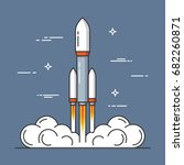 launch of a rocket. project... | Shutterstock .eps vector #682260871