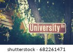 Stock photo university ave street sign at liberal arts college 682261471