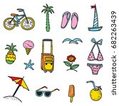 hand drawn vector set  with... | Shutterstock .eps vector #682263439