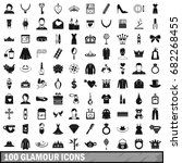 100 glamour icons set in simple ... | Shutterstock .eps vector #682268455