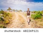 young woman with backpack at... | Shutterstock . vector #682269121