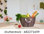 shopping bag full of fresh food ... | Shutterstock . vector #682271659