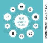 flat icons display  printer ...   Shutterstock .eps vector #682274164