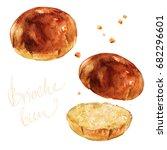 brioche bun. watercolor... | Shutterstock . vector #682296601