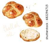 challah roll. watercolor... | Shutterstock . vector #682296715