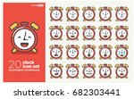 set of cute alarm clock emoji... | Shutterstock .eps vector #682303441
