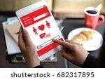 red heart online dating find... | Shutterstock . vector #682317895