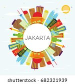 jakarta skyline with color... | Shutterstock . vector #682321939