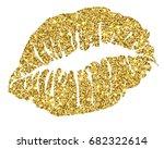 female gold glitter lipstick... | Shutterstock .eps vector #682322614
