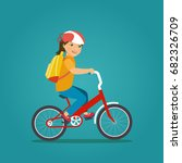 child girl with backpack riding ... | Shutterstock .eps vector #682326709