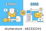 thin line flat vector of email... | Shutterstock .eps vector #682332241