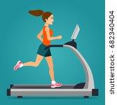 girl running on treadmill... | Shutterstock .eps vector #682340404